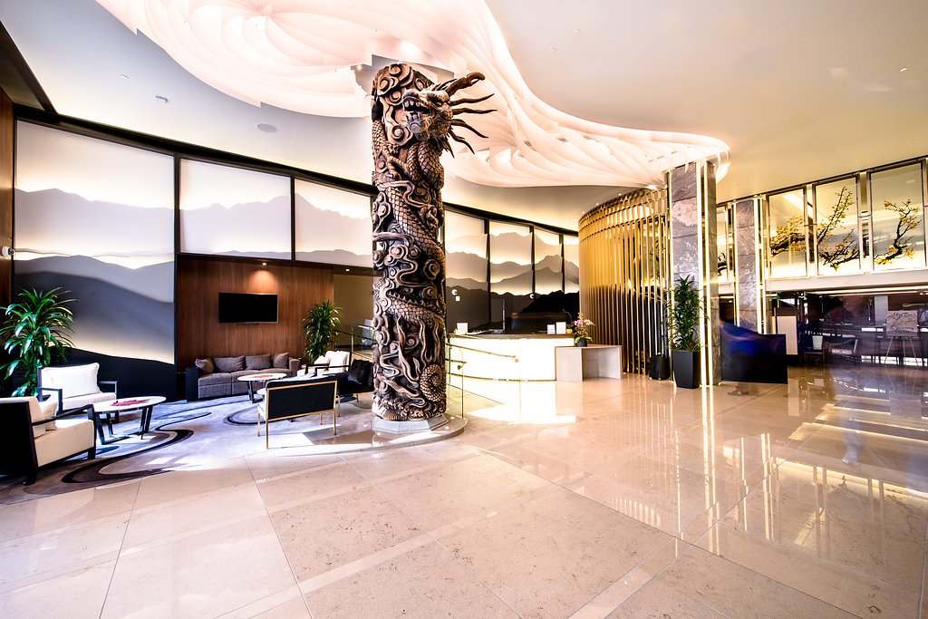 image shows lobby view of hotel fusion in san francisco